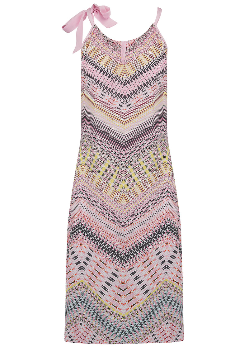 CHARLOTTE SPARRE Tie Strap Silk Printed Dress - Pastel main image