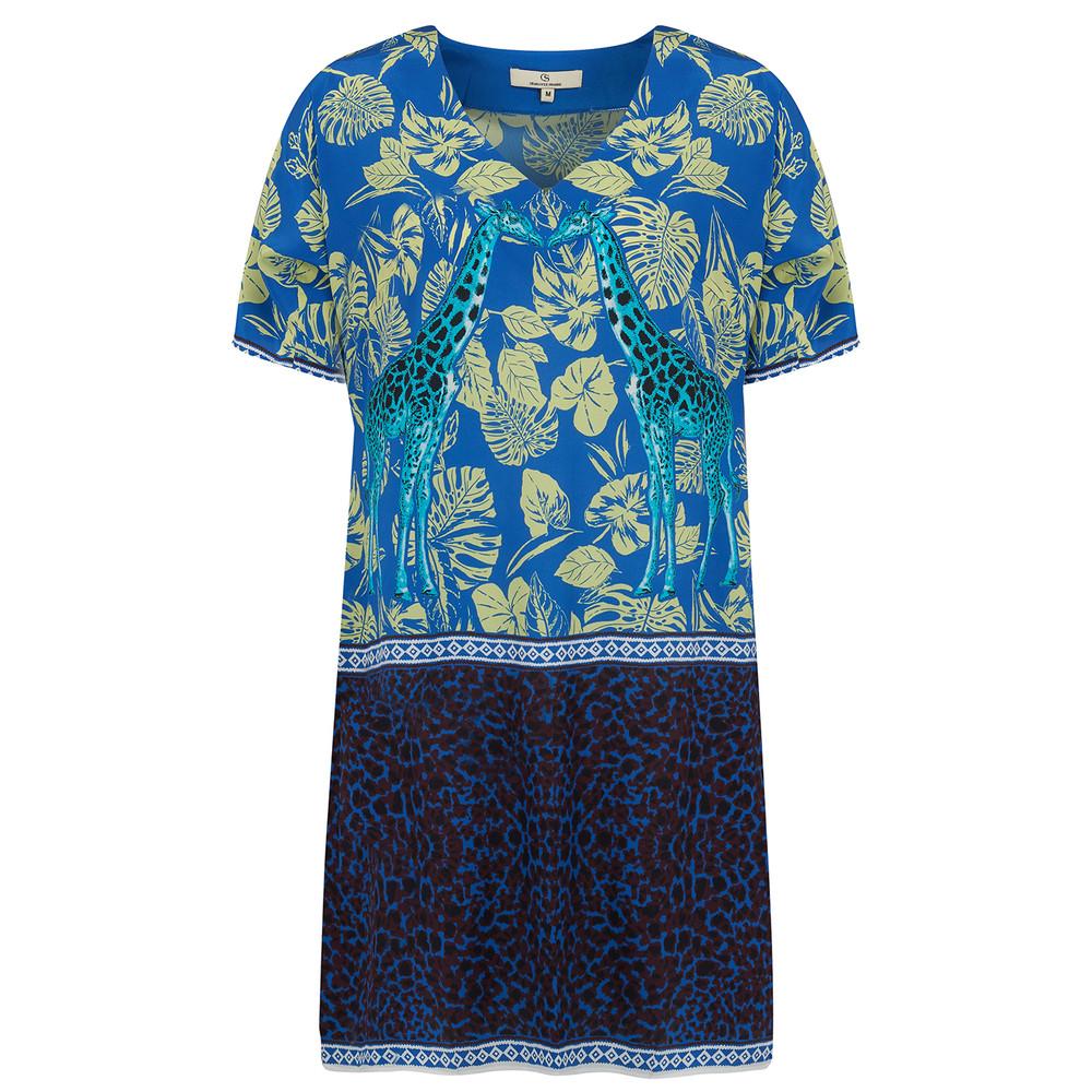Silk Printed Super Dress - Cobalt