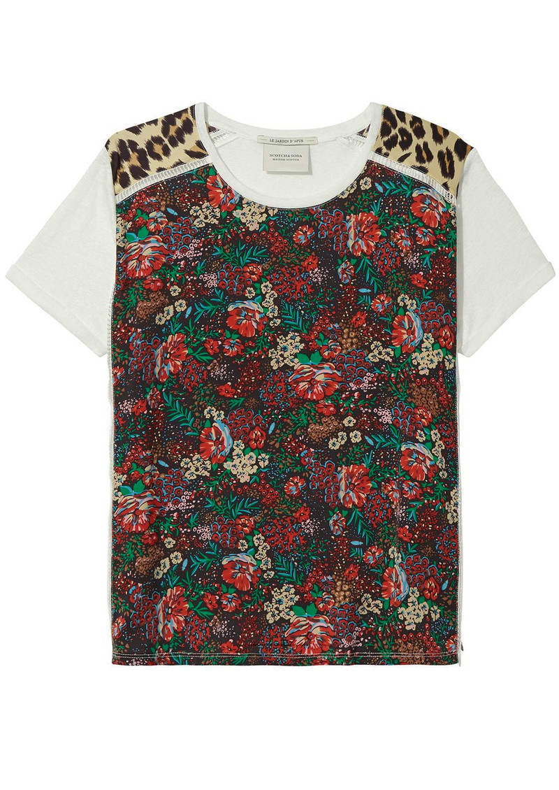 Maison Scotch Linen Printed Short Sleeve Tee - Combo A main image