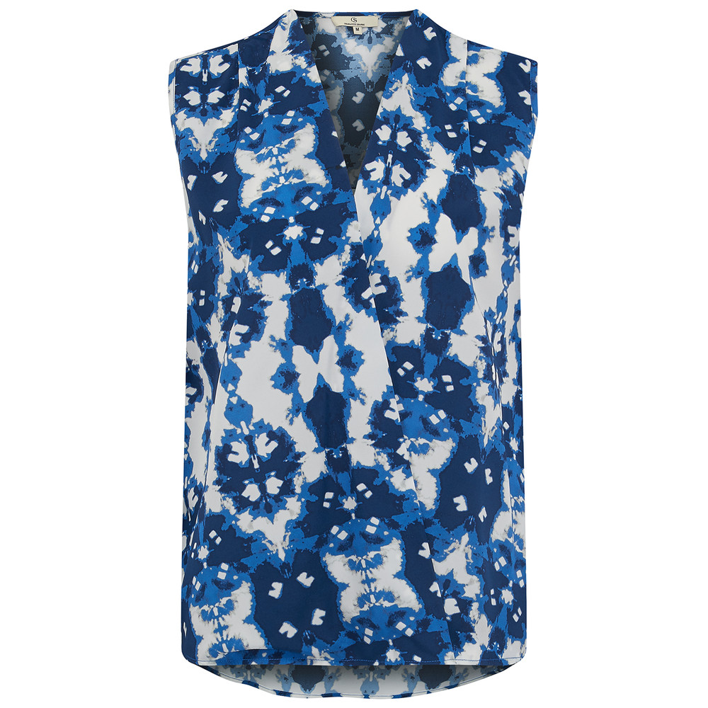 Wrap Top - Ink Flower Blue