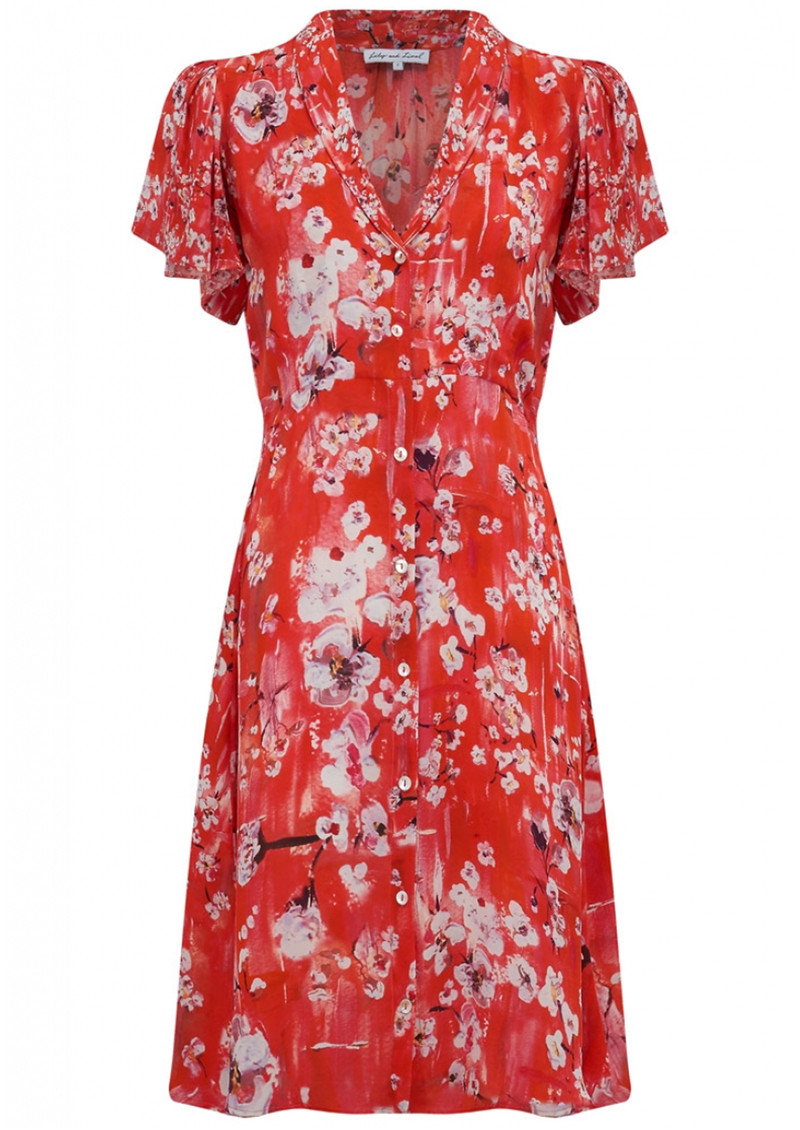 Winnie Button Down Midi Dress - Ruby Red main image