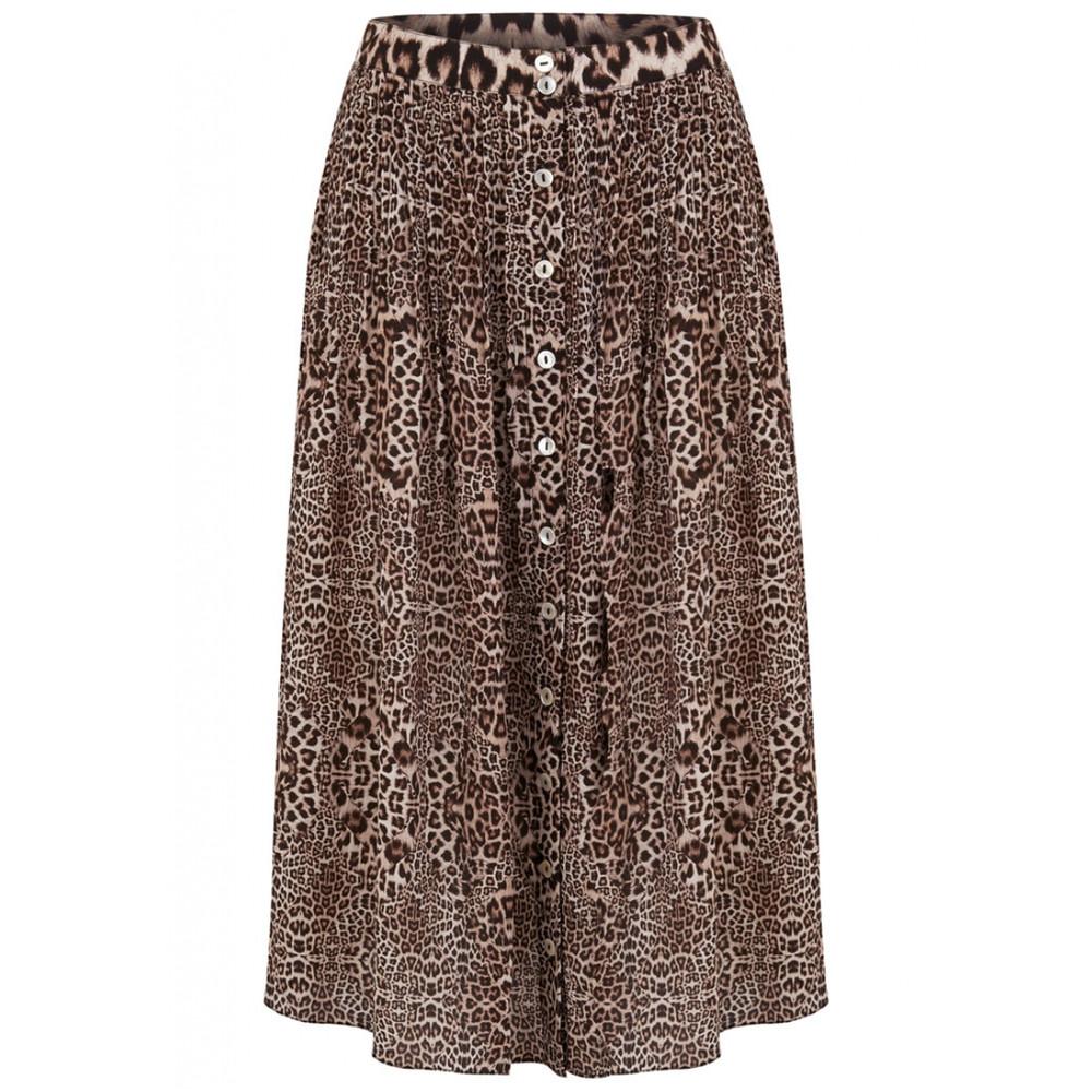 Kitty Pin Tuck Midi Silk Leopard Skirt - Neutral
