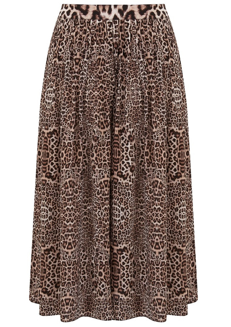 Kitty Pin Tuck Midi Silk Leopard Skirt - Neutral main image