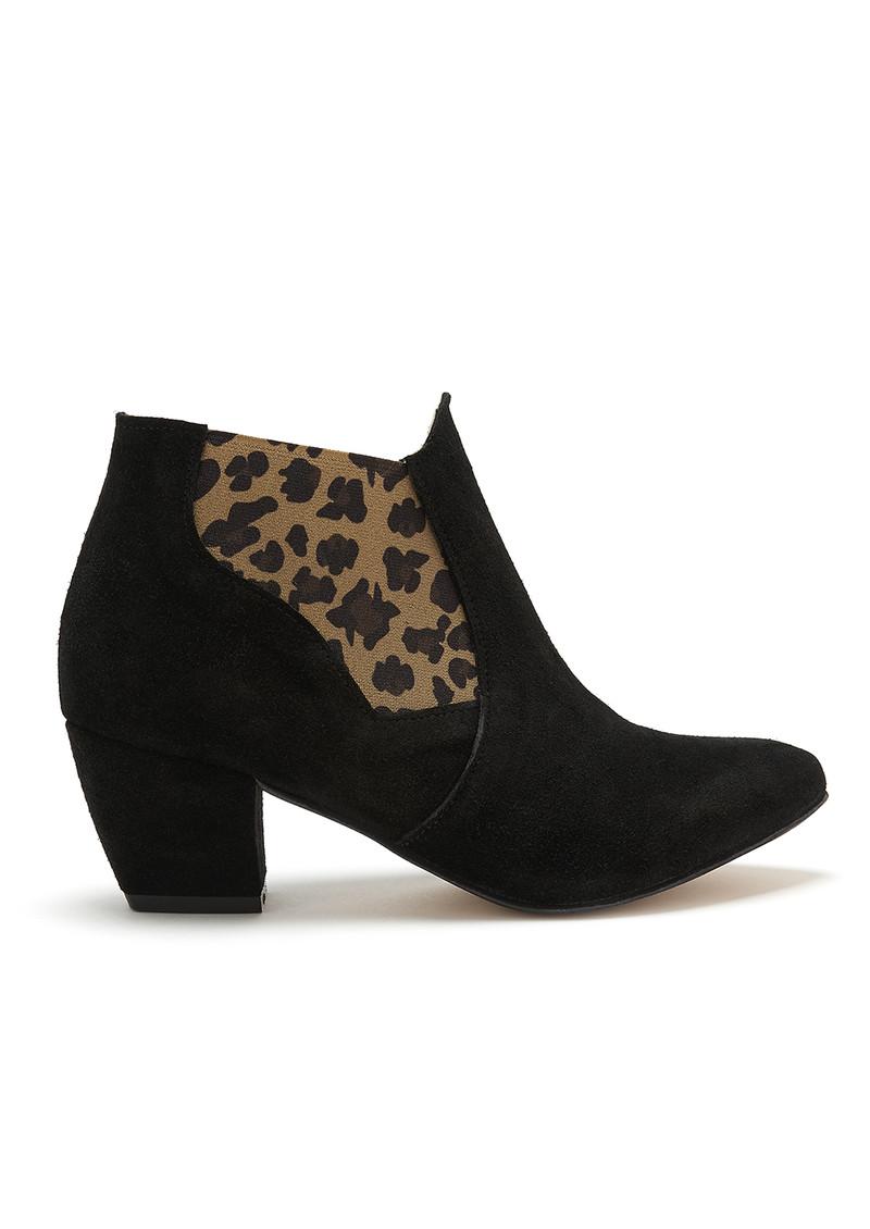 A COPENHAGEN Celine Boot - Black & Leopard main image