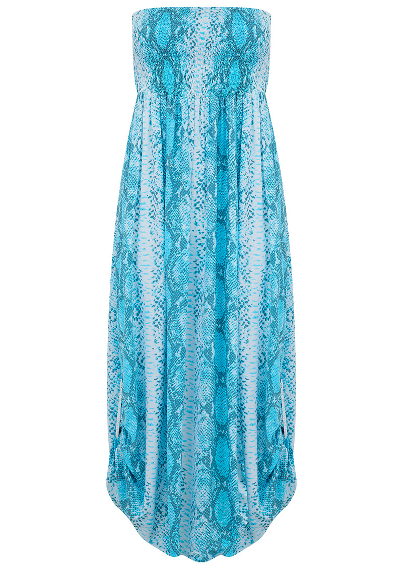 BETH AND TRACIE Emily Maxi Snake Print Dress - Ocean main image