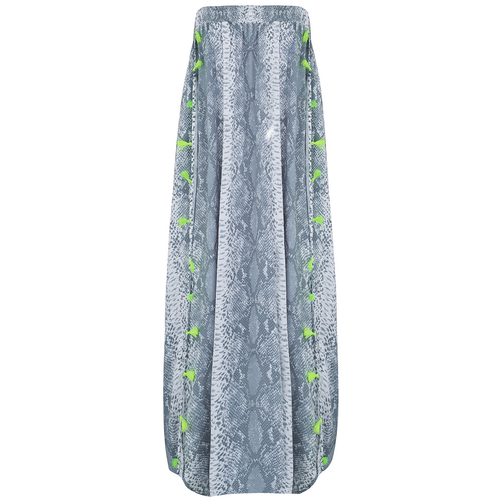 Jess Beach Snake Print Skirt - Steel