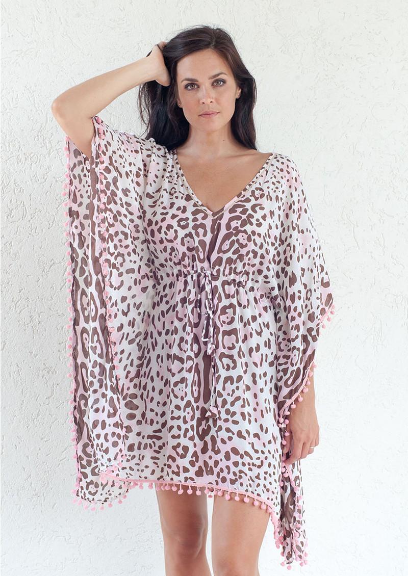 BETH AND TRACIE Topaz Leopard Print Kaftan Top - Blush main image