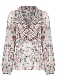 Alice Floral 70s Blouse - White