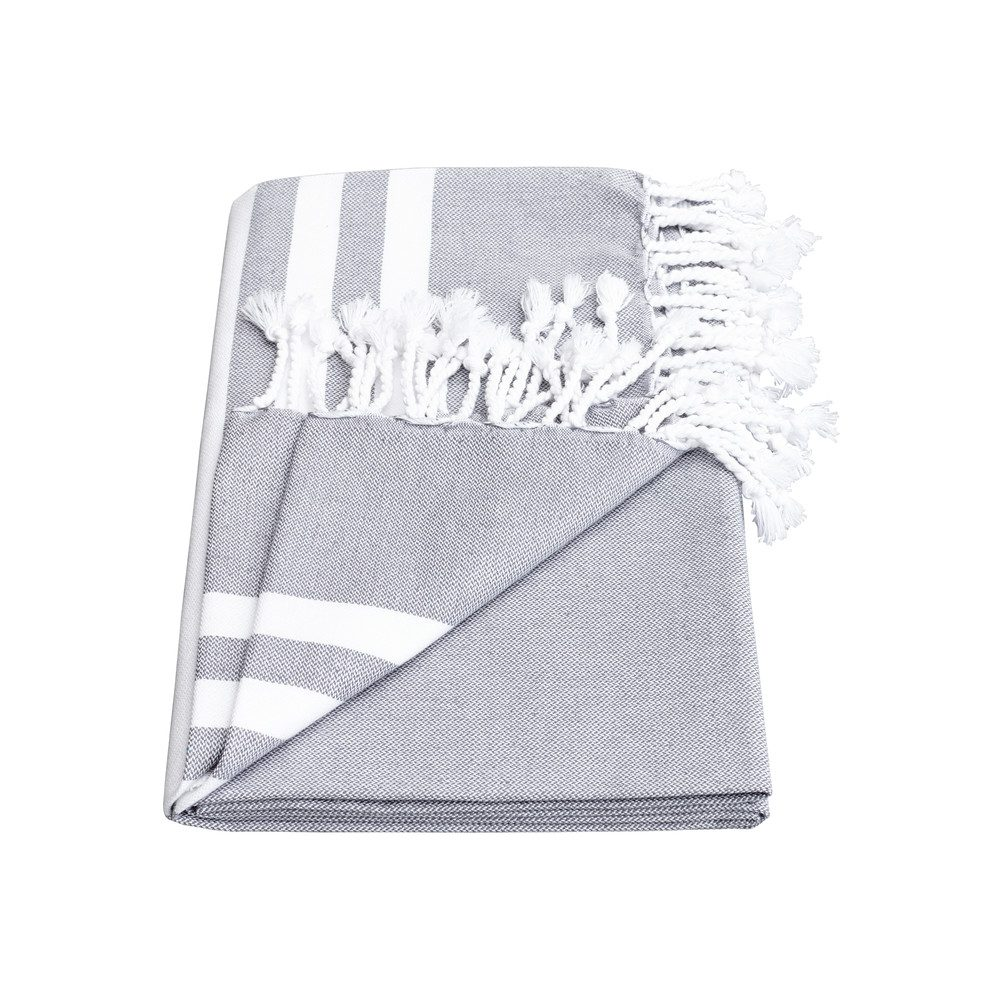 Esra Three Striped Towel - Smoke Grey