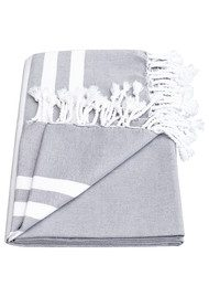 HAMMAMHAVLU Esra Three Striped Towel - Smoke Grey