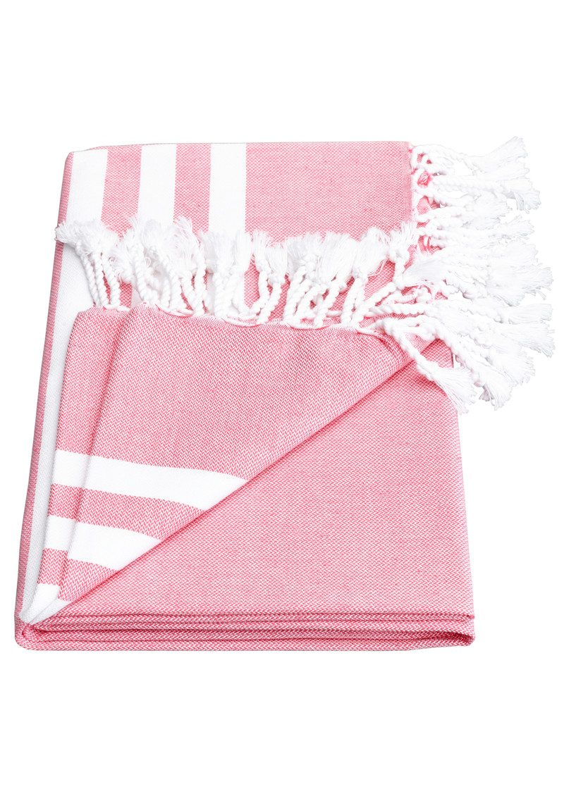 HAMMAMHAVLU Esra Three Striped Towel - Pink main image