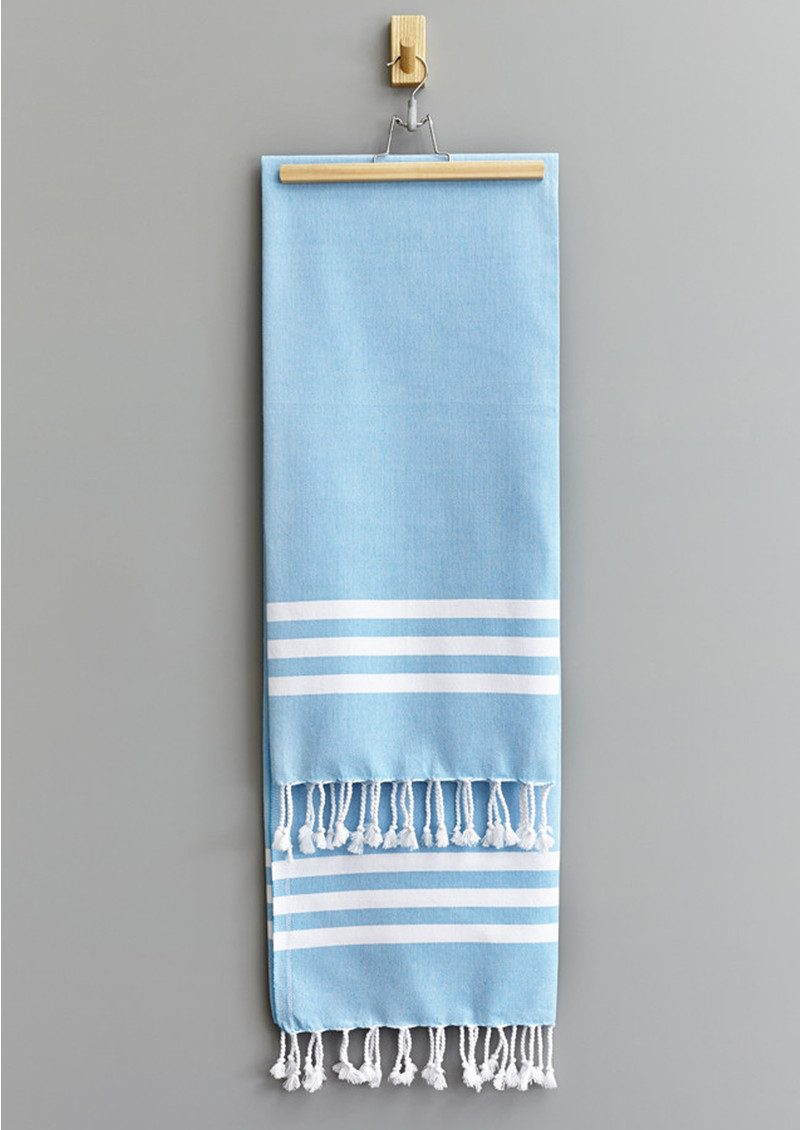 HAMMAMHAVLU Esra Three Striped Towel - Fresh Blue main image