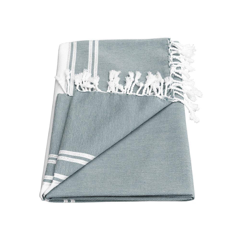 Ziya Silver Lurex Stripe Towel - Smoke Grey