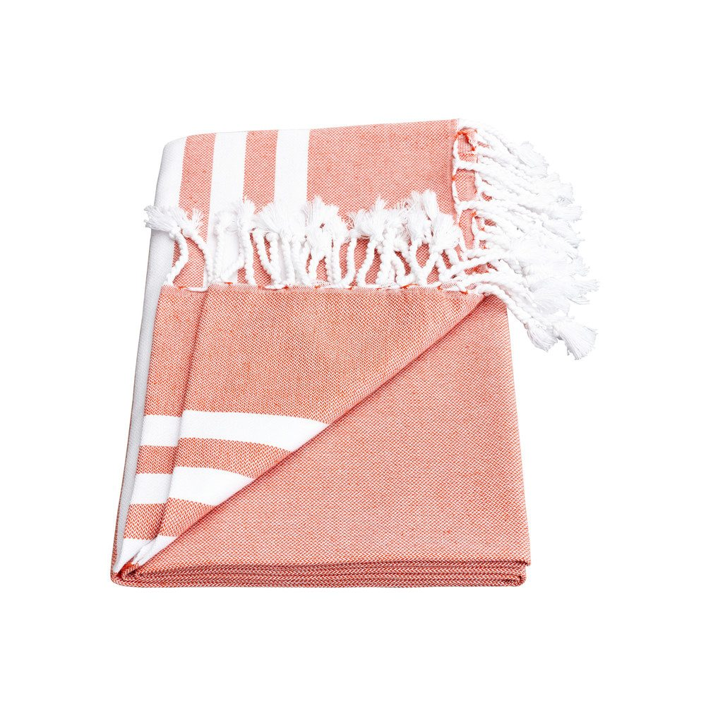 Esra Three Striped Towel - Paprika