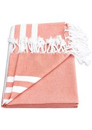 HAMMAMHAVLU Esra Three Striped Towel - Paprika