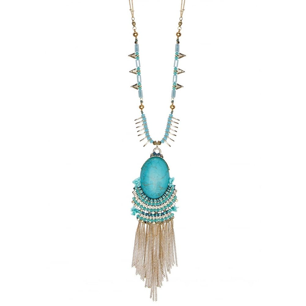 Brick Lane Pendant Long Necklace - Turquoise & Gold