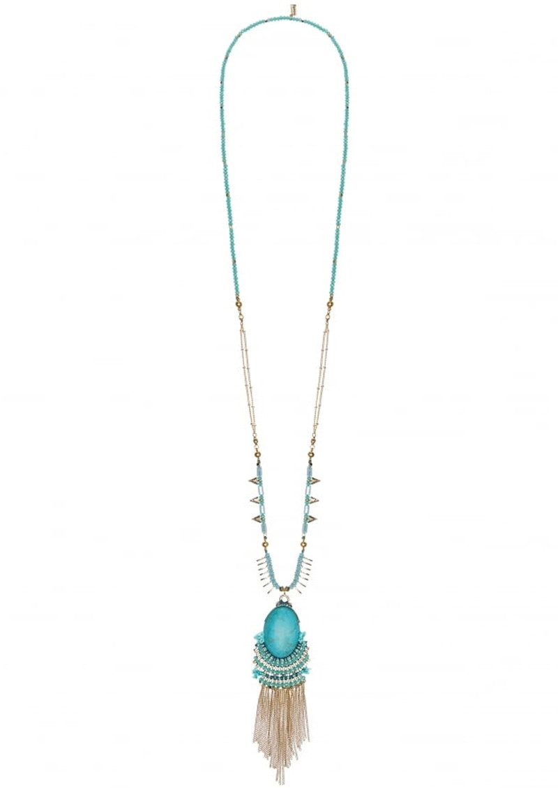 Butterfly Brick Lane Pendant Long Necklace - Turquoise & Gold main image