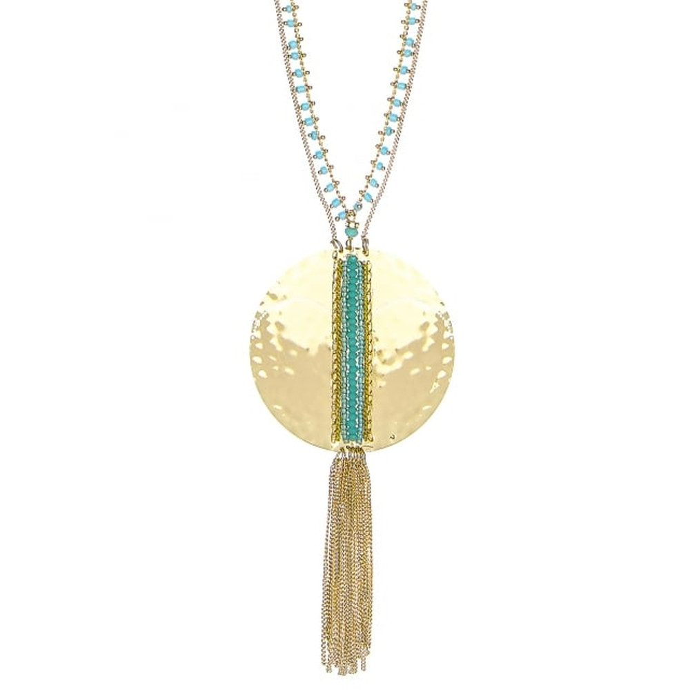 Delicate Boho Disc Necklace - Turquoise & Gold