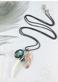 BRAVE LOTUS Feather Cluster Necklace - Silver & Rose Gold