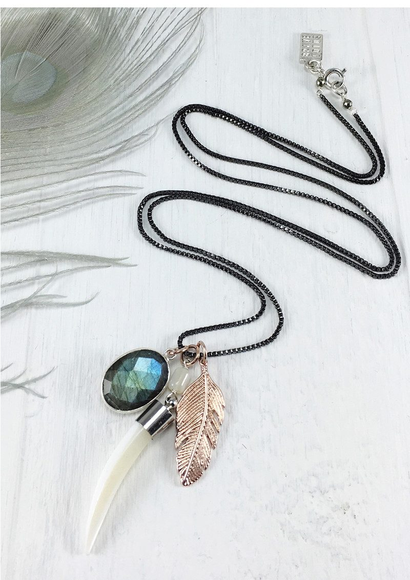 BRAVE LOTUS Feather Cluster Necklace - Silver & Rose Gold main image