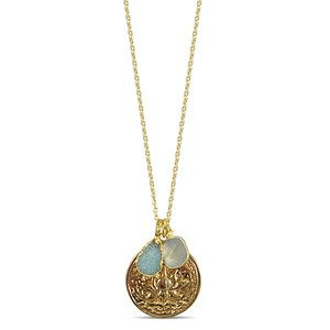 Flowering Lotus Cluster Necklace - Gold
