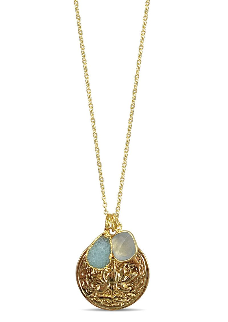 Flowering Lotus Cluster Necklace - Gold main image