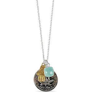 Flowering Lotus & Hamsa Cluster Necklace - Silver