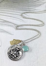 BRAVE LOTUS Flowering Lotus & Hamsa Cluster Necklace - Silver