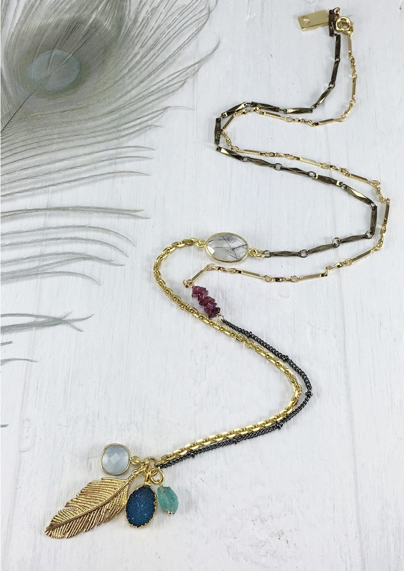 BRAVE LOTUS Asymetric Cluster Necklace - Gold main image