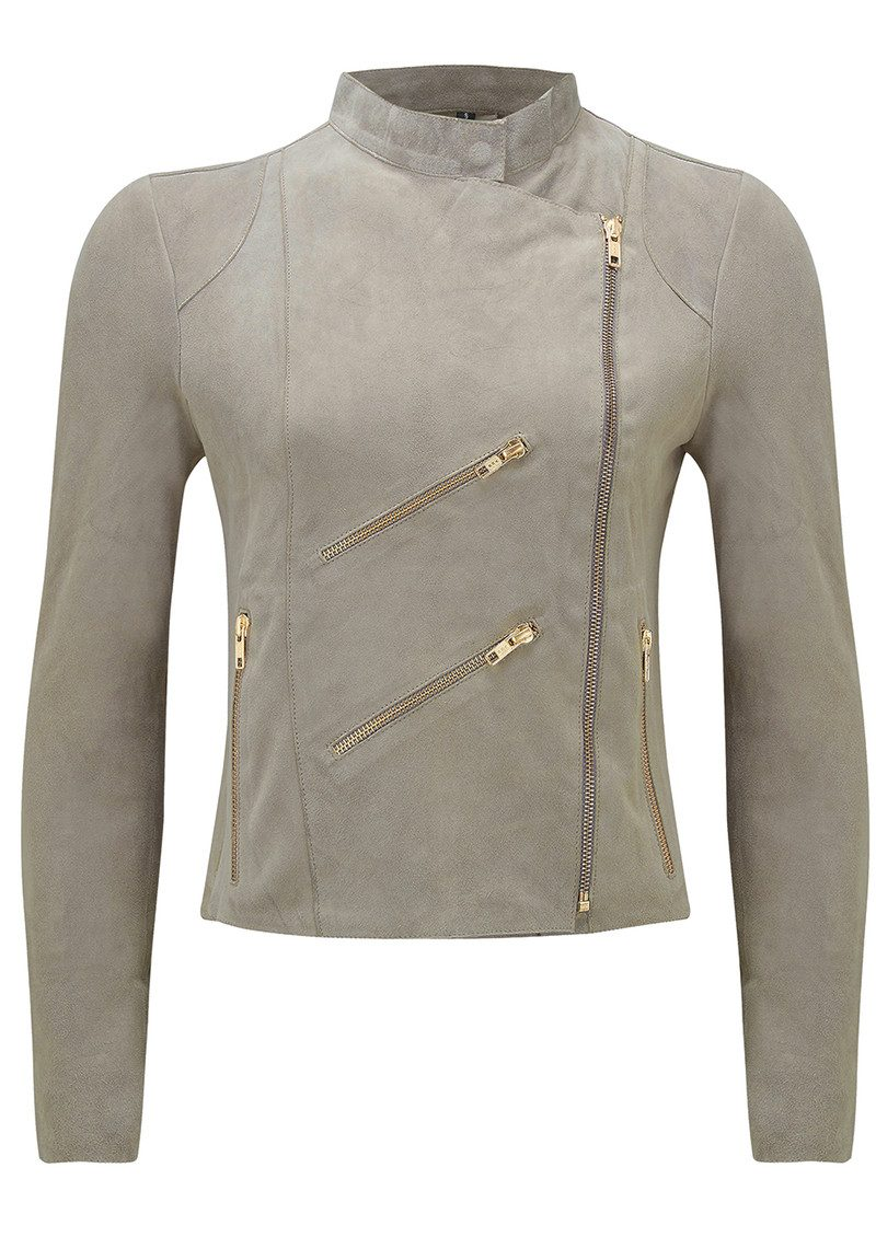 FAB BY DANIE Paris Suede Jacket - Taupe main image
