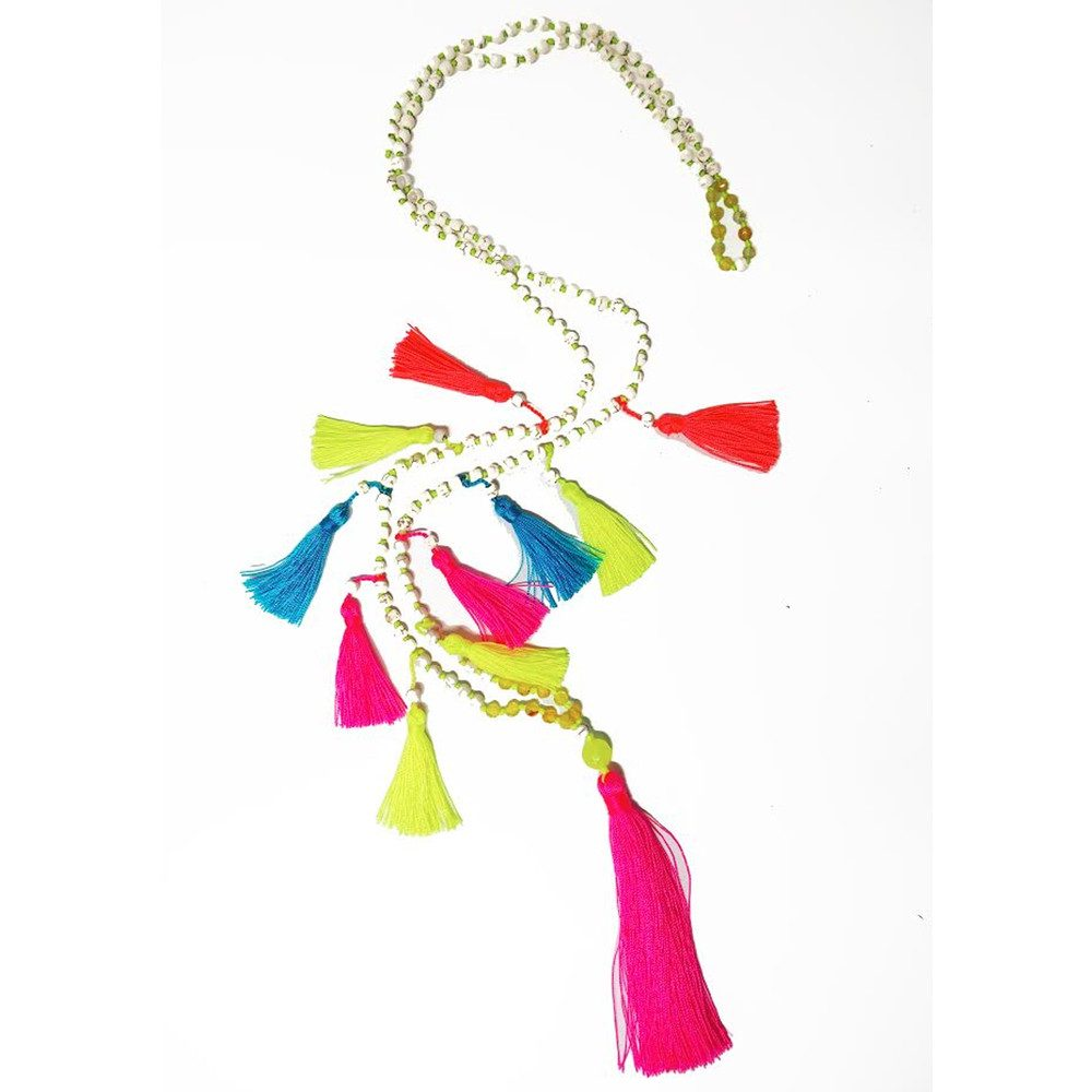 Multi Tassel Necklace - Neon