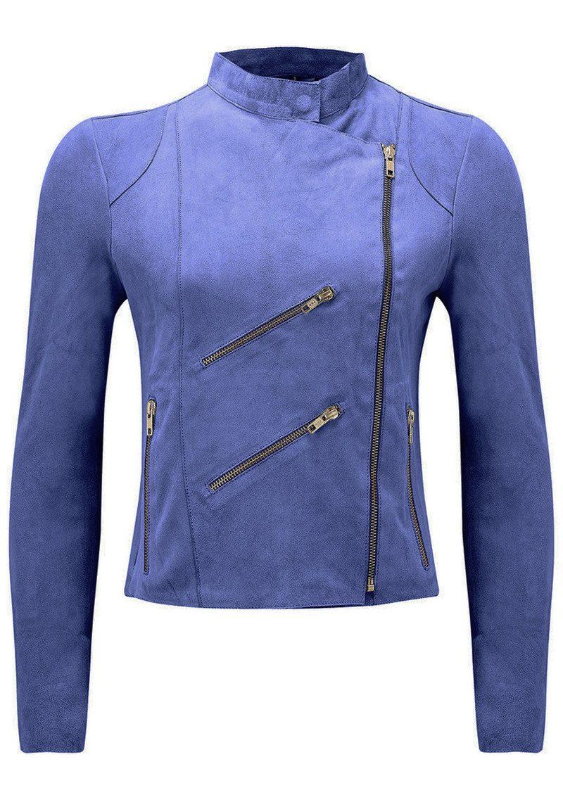 FAB BY DANIE Paris Suede Jacket - Cobalt Blue main image