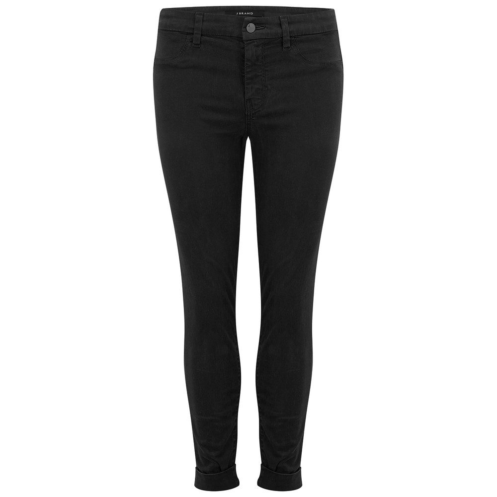 Anja Clean Cuffed Crop Jeans - Black