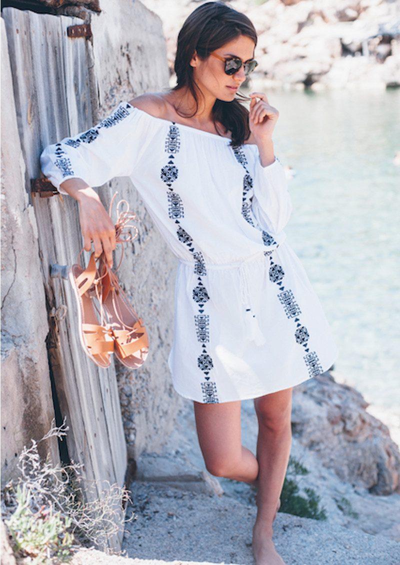 PAMPELONE Bardot Embroidered Dress - White & Navy main image