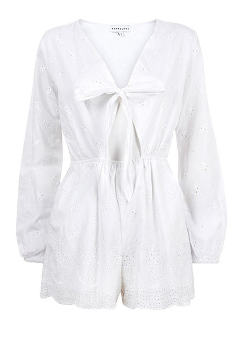 PAMPELONE Blanco Cotton Playsuit - White main image