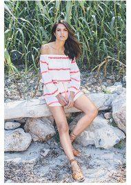 PAMPELONE Bardot Stripe Dress - Pink