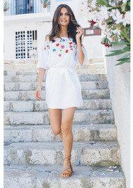PAMPELONE Eivissa Mini Embroidered Dress - White