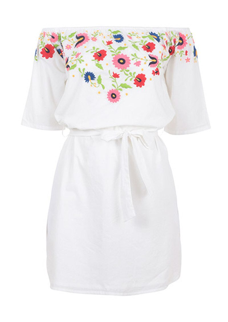 PAMPELONE Eivissa Mini Embroidered Dress - White main image