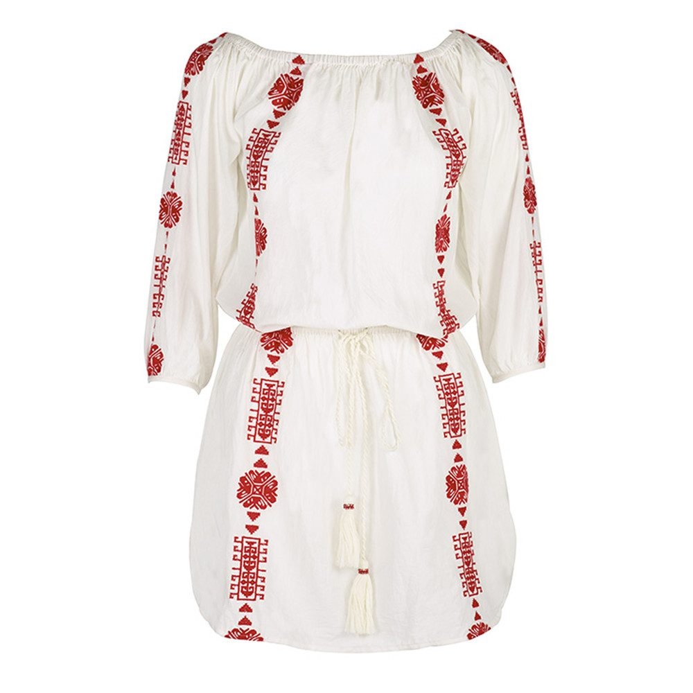 Bardot Embroidered Dress - White & Red