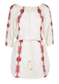 PAMPELONE Bardot Embroidered Dress - White & Red