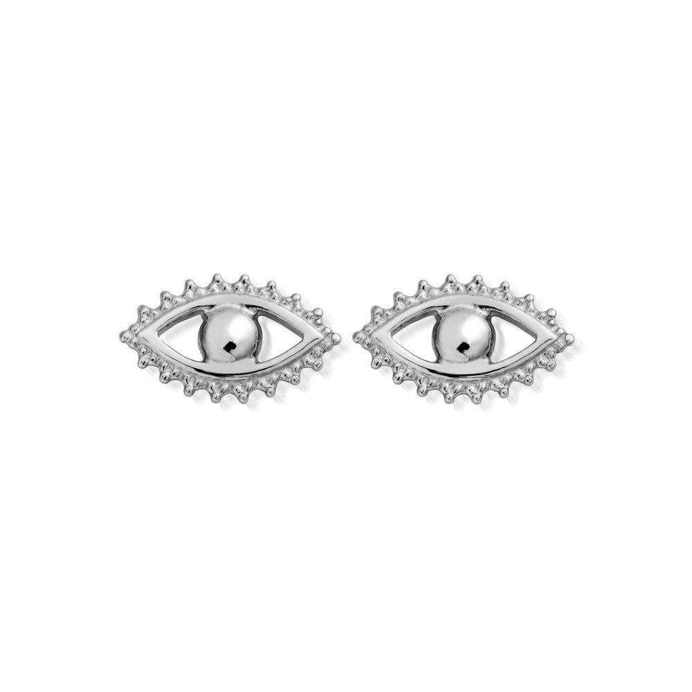 Evil Eye Stud Earrings - Silver