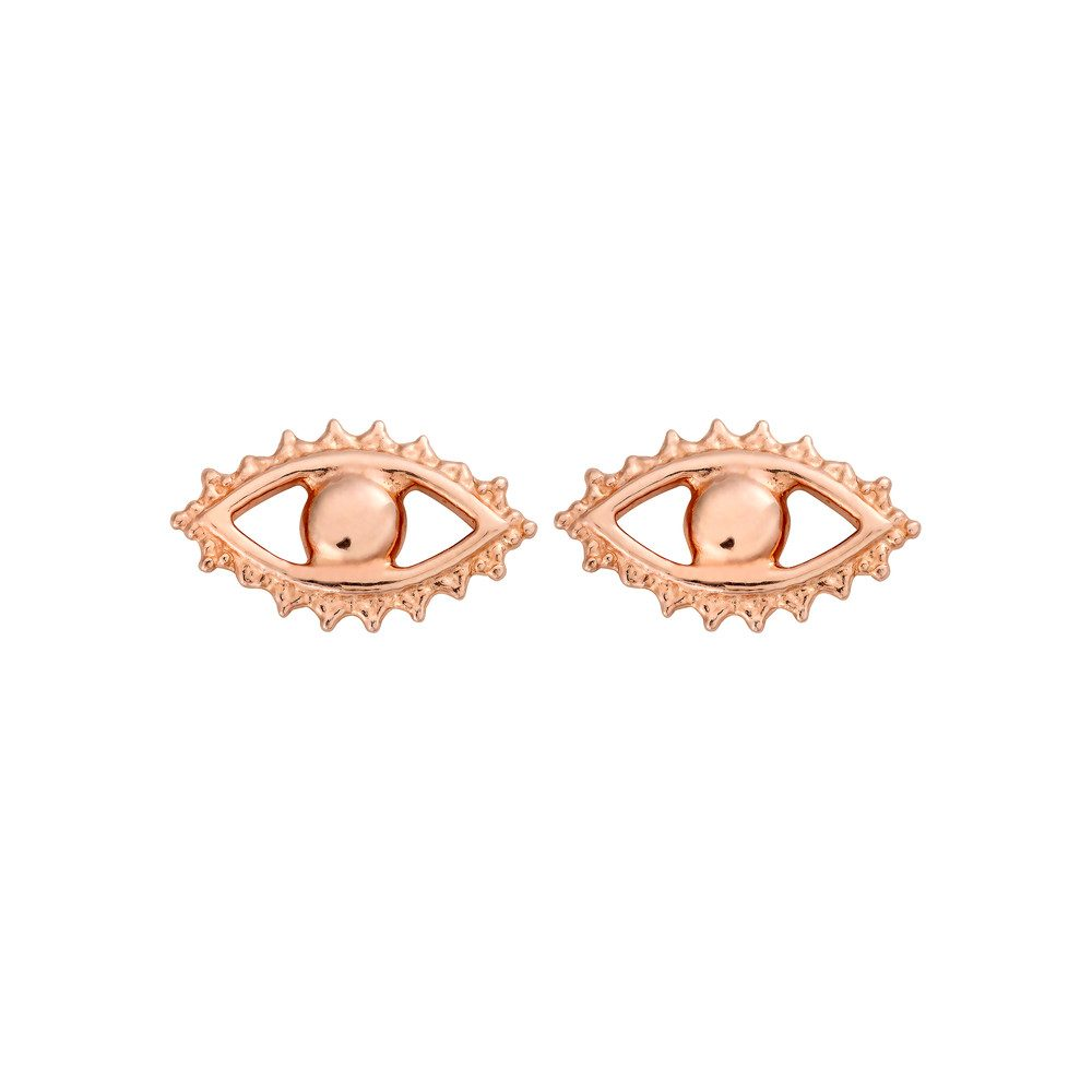 Evil Eye Stud Earrings - Rose Gold