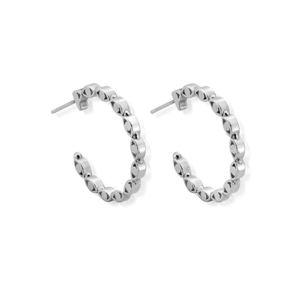 Evil Eye Hoop Earrings - Silver