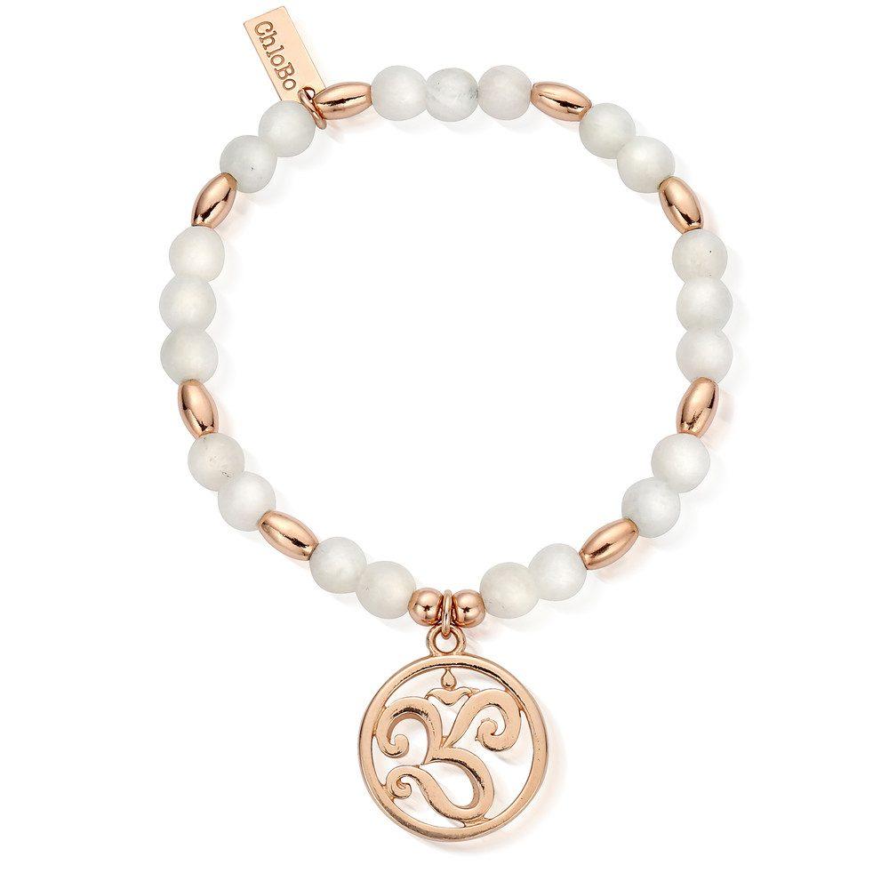 Om Disc Bracelet - Rose Gold & Moonstone
