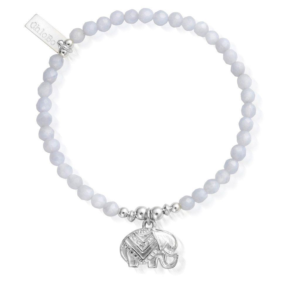 Decorated Elephant Bracelet - Silver & Blue Lace Agate