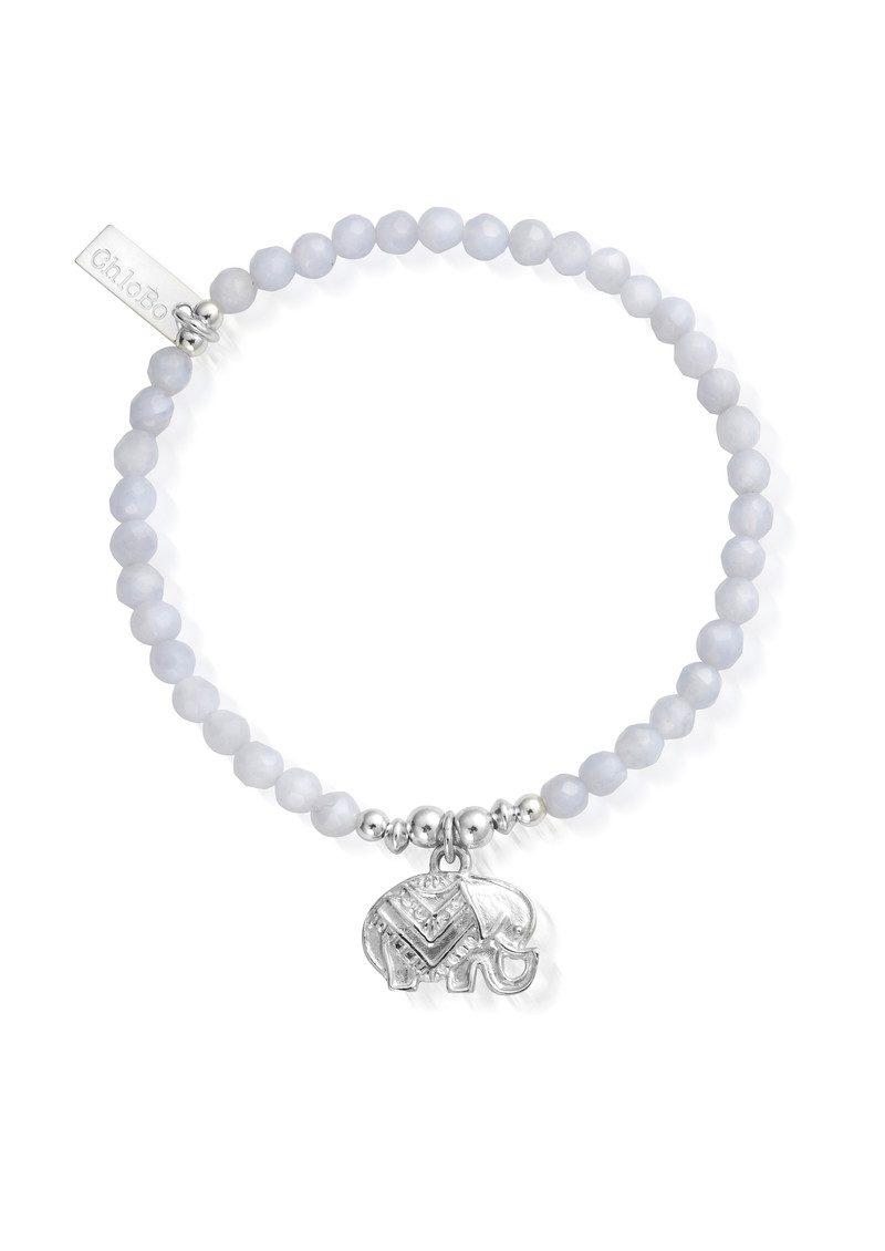 ChloBo Decorated Elephant Bracelet - Silver & Blue Lace Agate main image