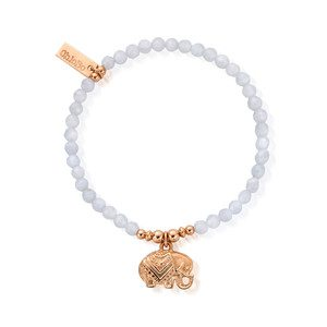 Decorated Elephant Bracelet - Rose Gold & Blue Lace Agate