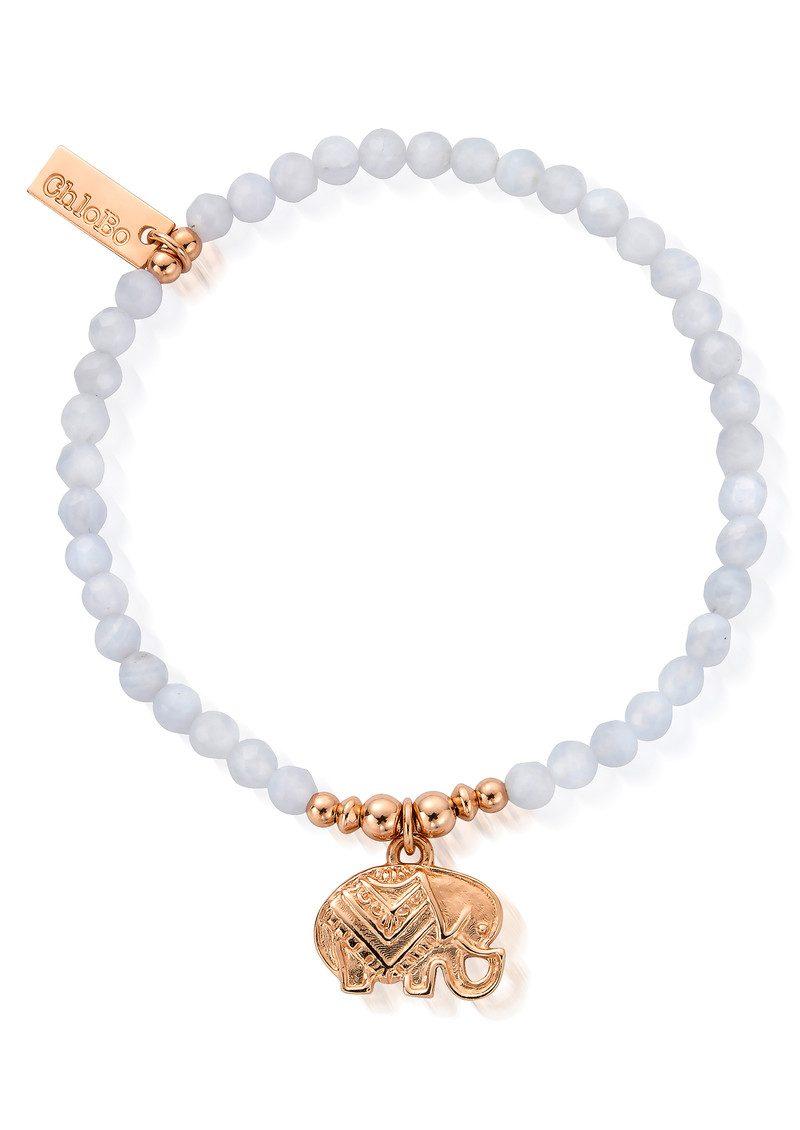 ChloBo Decorated Elephant Bracelet - Rose Gold & Blue Lace Agate main image