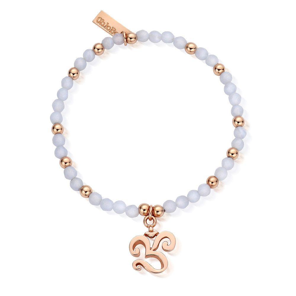 Chunky Om Bracelet - Rose Gold & Blue Lace Agate