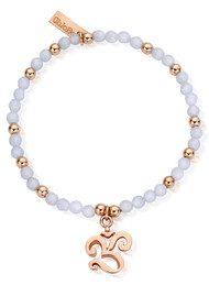 ChloBo Chunky Om Bracelet - Rose Gold & Blue Lace Agate